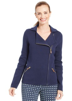 Charter Club Petite Moto Sweater Jacket