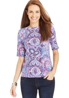 Charter Club Petite Paisley Boat-Neck Top