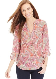 Charter Club Petite Paisley Popover Top