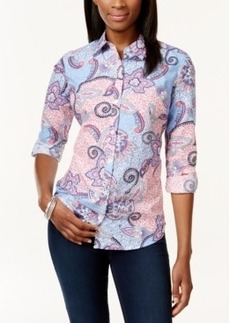Charter Club Petite Paisley-Print Button-Down Shirt, Only at Macy's