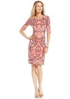 Charter Club Petite Paisley-Print Elbow-Sleeve Sheath Dress