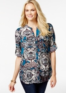 Charter Club Petite Paisley-Print Split-Neck Top, Only at Macy's