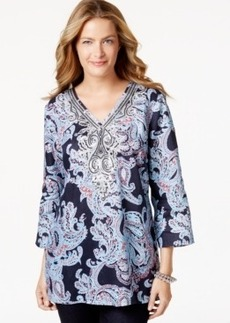 Charter Club Paisley-Print Three-Quarter-Sleeve Tunic, Only at Macy's