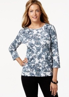 Charter Club Petite Paisley Three-Quarter Sleeve Top, Only at Macy's