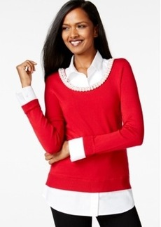 Charter Club Petite Pearl-Detail Contrast Layered Top, Only at Macy's
