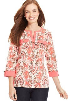 Charter Club Pima Cotton Paisley Henley Top