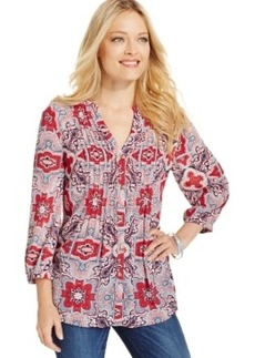 Charter Club Petite Pintucked Bandana-Print Blouse, Only at Macy's