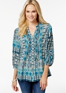 Charter Club Petite Pintucked Scarf-Print Peasant Top, Only at Macy's