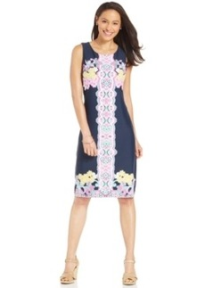 Charter Club Placed-Print Sleeveless Sheath Dress