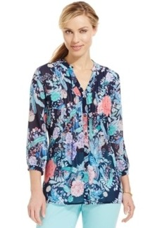 Charter Club Petite Pleated Floral Split-Neck Shirt