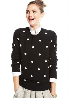 Charter Club Petite Polka-Dot Cashmere Sweater