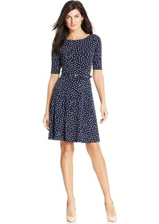 Charter Club Polka-Dot Fit & Flare Dress