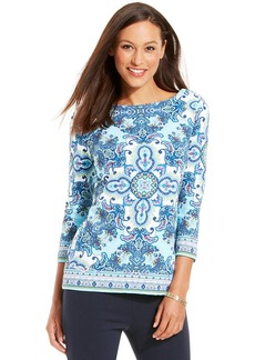 Charter Club Petite Printed Boat-Neck Button-Shoulder Top