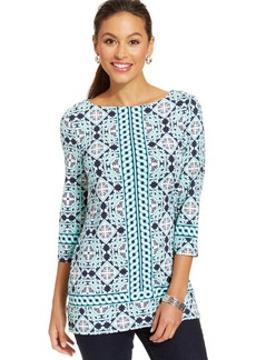 Charter Club Printed Boat-Neck Tunic