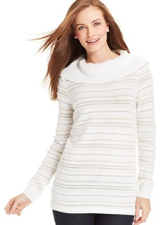Charter Club Petite Printed Cowl-Neck Sweater