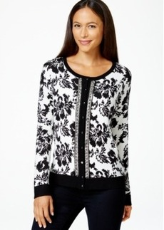 Charter Club Petite Printed Embellished Cardigan, Only at Macy's