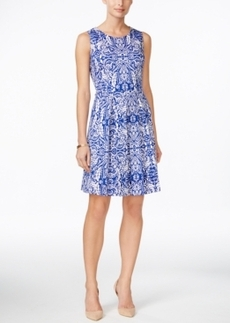 Charter Club Petite Printed Fit & Flare Dress, Only at Macy's