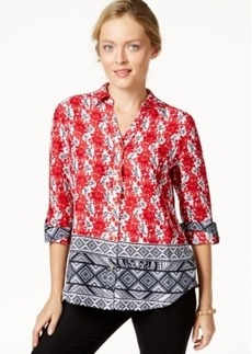 Charter Club Printed Roll-Tab-Sleeve Linen Shirt, Only at Macy's