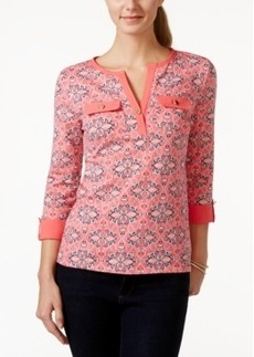 Charter Club Roll-Tab Printed Henley Top