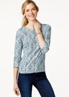 Charter Club Petite Printed Three-Quarter Sleeve Top, Only at Macy's