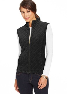 Charter Club Petite Quilted Velour Zip-Front Vest