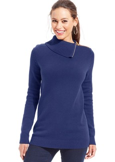 Charter Club Petite Ribbed-Knit Zippered Foldover-Collar Sweater