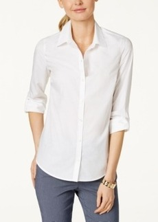 Charter Club Petite Roll-Tab Button Down Shirt, Only at Macy's