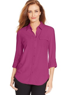 Charter Club Petite Roll-Tab Button-Front Blouse