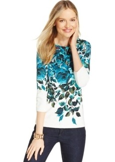 Charter Club Petite Rose-Print Boat-Neck Top, Only at Macy's