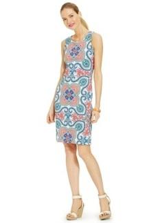 Charter Club Petite Scarf-Print Sleeveless Sheath Dress
