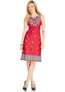 Charter Club Petite Scarf-Print Sleeveless Shift Dress, Only at Macy's