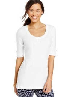 Charter Club Petite Scoop-Neck Elbow-Sleeve Top