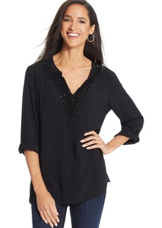 Charter Club Petite Sequined Blouse