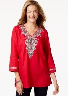 Charter Club Petite Sequined Three-Quarter-Sleeve Tunic, Only at Macy's