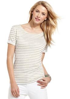 Charter Club Petite Short-Sleeve Striped Linen Tee