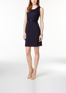 Charter Club Belted Textured Dot Print Dress, Only at Macy's