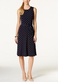 Charter Club Sleeveless Tie-Waist Dress, Polka Dot Print