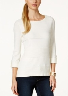 Charter Club Petite Solid Boat-Neck Roll-Tab Sweater, Only at Macy's