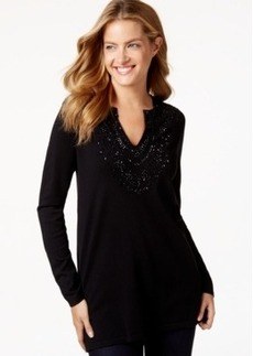 Charter Club Petite Split-Neck Long-Sleeve Top, Only at Macy's