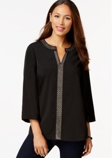 Charter Club Petite Split-Neck Three-Quarter-Sleeve Tunic, Only at Macy's