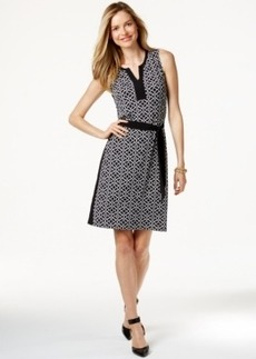 Charter Club Petite Split-Neck Tie-Waist Dress, Only at Macy's