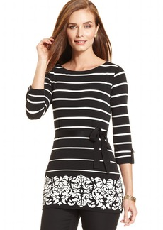 Charter Club Petite Striped Belted Printed-Hem Tunic