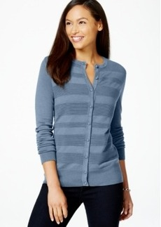 Charter Club Petite Textured-Stripe Cardigan, Only at Macy's