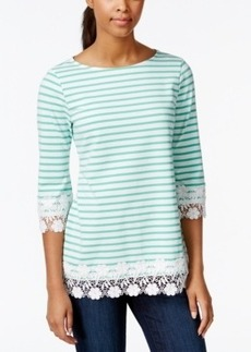 Charter Club Petite Striped Crochet-Trim Top, Only at Macy's