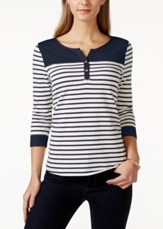Charter Club Colorblock Striped Henley Top, Only at Macy's