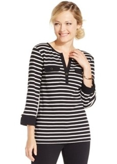 Charter Club Petite Striped Henley Top