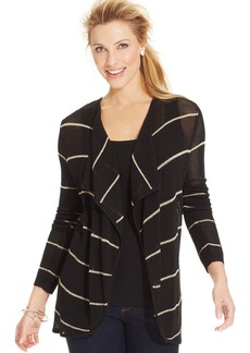Charter Club Petite Striped Mesh Drape-Front Cardigan