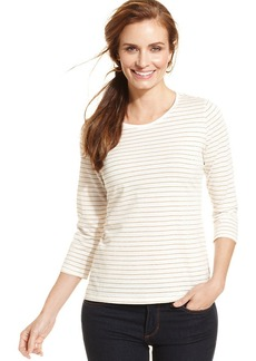 Charter Club Petite Striped Metallic Tee