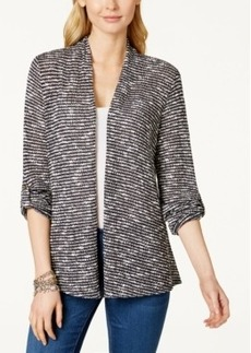Charter Club Petite Striped Roll-Tab-Sleeve Cardigan, Only at Macy's