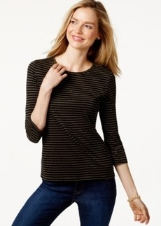Charter Club Petite Striped Three-Quarter Sleeve Top, Only at Macy's